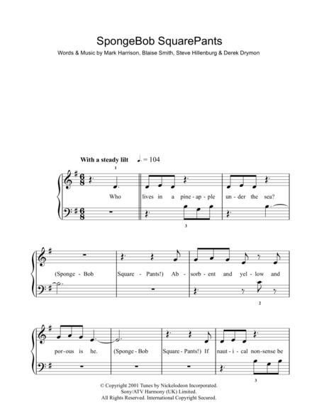 spongebob squarepants sheet music to download and print