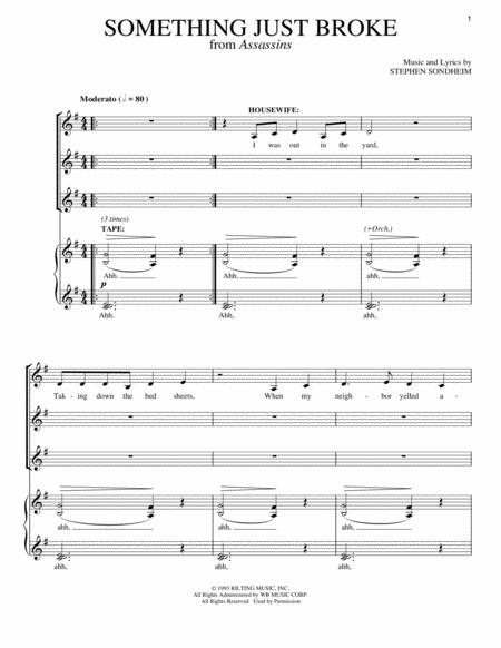 something just broke from assassins piano vocal sheet music