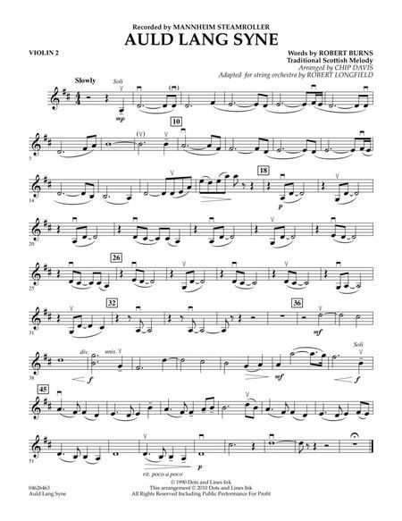 Download Digital Sheet Music of auld lang syne for Violin