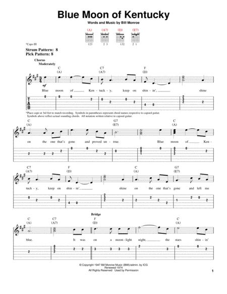 Download Digital Sheet Music of blue moon for Guitar notes and ...