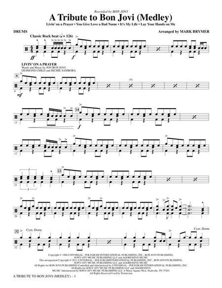 Download Digital Sheet Music of bon jovi for Drums