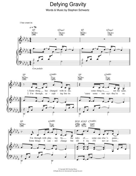 Download Digital Sheet Music of (defying gravity) for Piano, Vocal ...