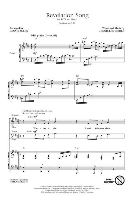 revelation song sheet music pdf