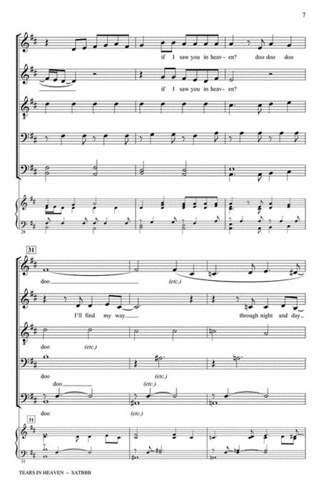 Sheet music: Eric Clapton : Tears in Heaven (Choral SATBBB A
