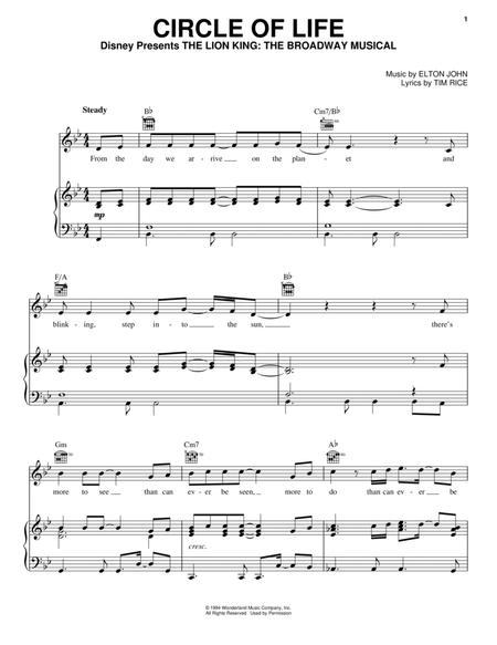 Download Digital Sheet Music of Elton John and The Lion King for ...