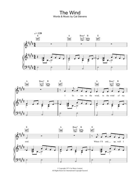 Download Digital Sheet Music Of Cat Stevens For Piano Vocal And Guitar
