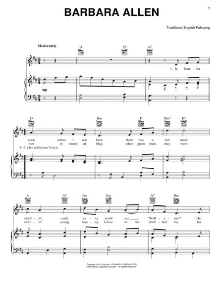 Download Digital Sheet Music Of Barbara For Piano Vocal And Guitar