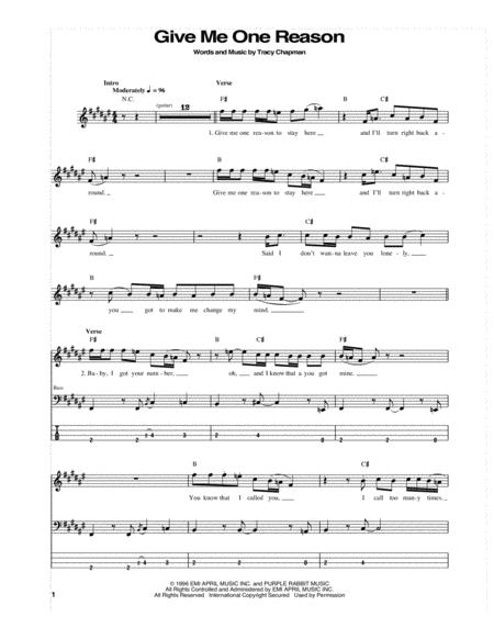 Tracy Chapman Sheet Music To Download And Print World Center Of