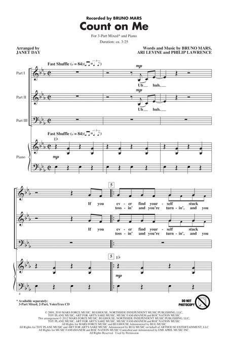 Download count on me sheet music by bruno mars sheet music plus.
