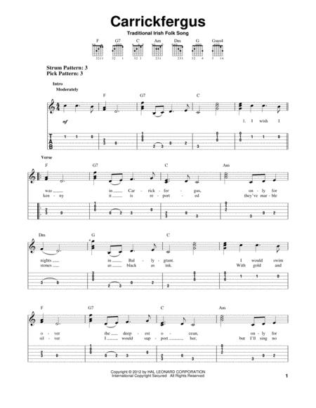 Carrickfergus Sheet Music To Download And Print World Center Of