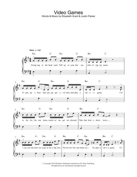 Download Digital Sheet Music Of Lana Del Rey For Easy Piano
