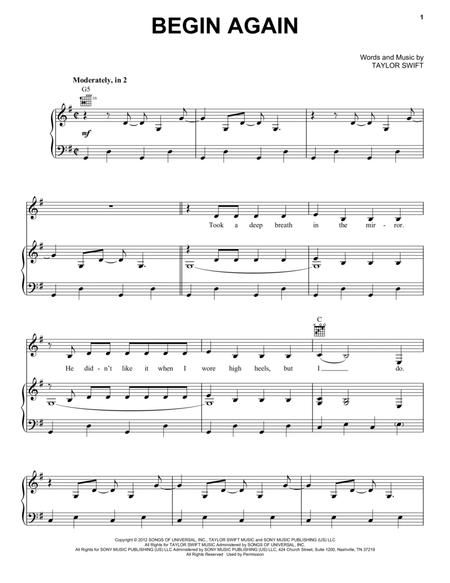 Download Digital Sheet Music Of Taylor Swift For Piano Vocal And Guitar