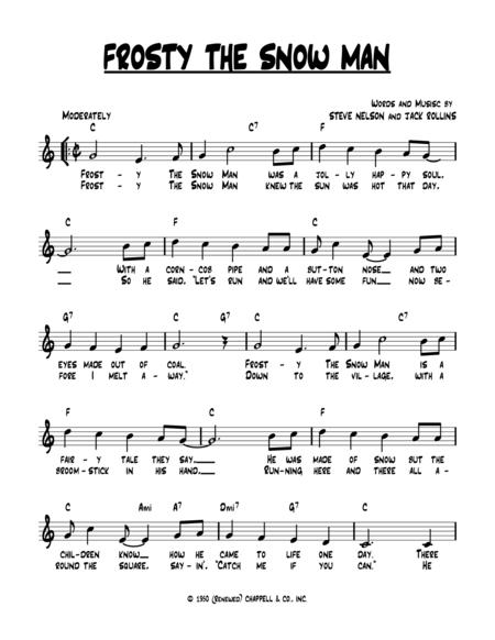 Insane image intended for frosty the snowman sheet music free printable