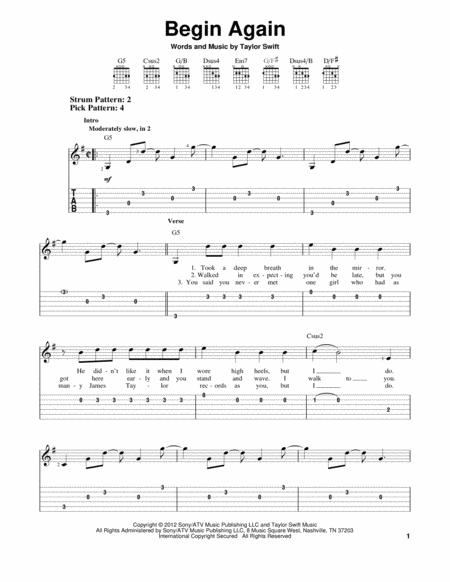 Download Digital Sheet Music of Taylor Swift for Guitar notes and ...