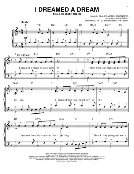 Les Miserables (Musical) sheet music to download and print