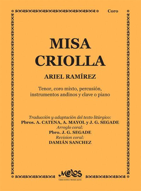 4-Part Percussion Sheet Ariel Ramirez: Misa Criolla SATB Piano Accompaniment