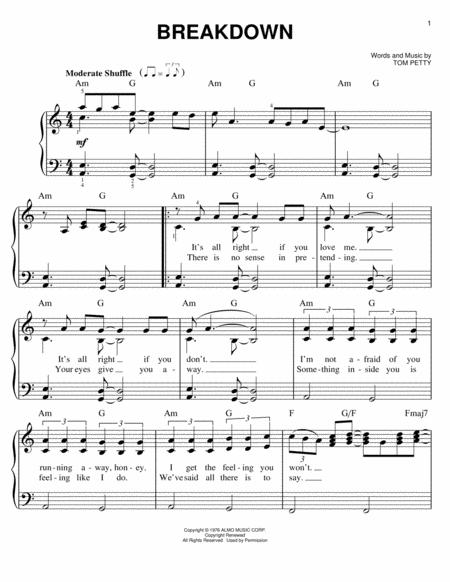 Download Digital Sheet Music Of Tom Petty For Easy Piano