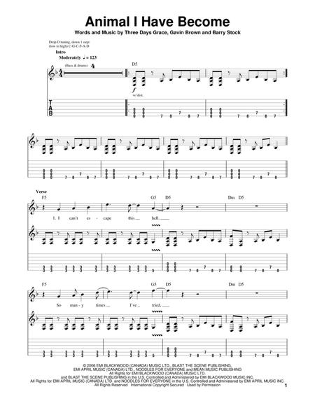 Three Days Grace sheet music to download and print - World center ...