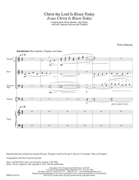 Christ the Lord Is Risen Today sheet music to download and print ...
