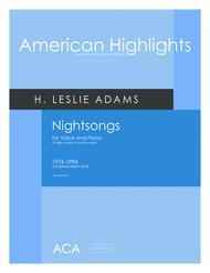 H. Leslie Adams  Sheet Music [Adams] Nightsongs Song Lyrics Guitar Tabs Piano Music Notes Songbook