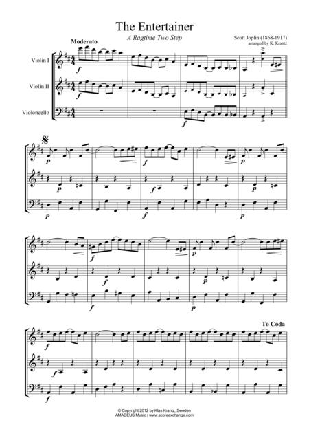 The Entertainer Violin sheet music to download and print