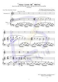 "W. Brabury, Old Irish Tune, K. Kaiser  Sheet Music ""Jesus Loves Me"" Medley Song Lyrics Guitar Tabs Piano Music Notes Songbook"