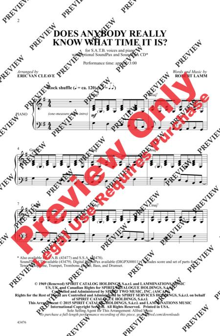 Sheet Music Does Anybody Really Know What Time It Is Satb Piano