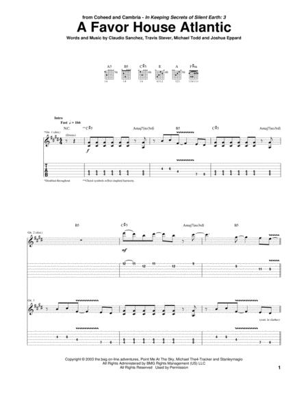 Coheed And Cambria sheet music to download and print - World