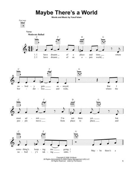 Cat Stevens Sheet Music To Download And Print World Center Of