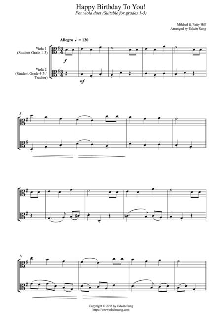 Download Digital Sheet Music Of Happy Birthday For Viola