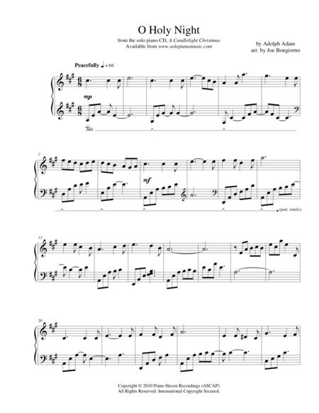 Download Digital Sheet Music Of O Holy Night For Piano Solo