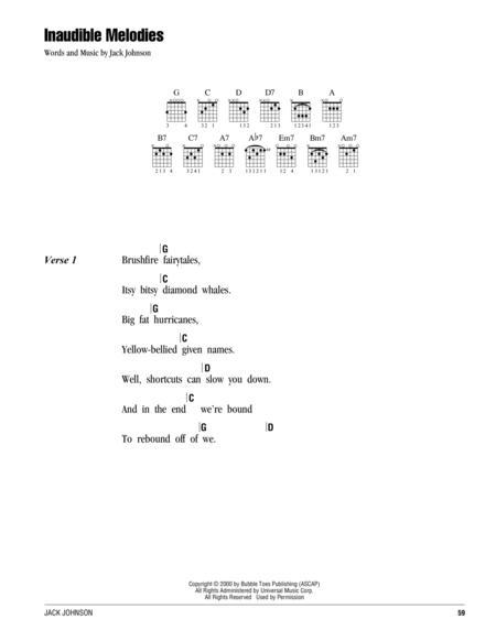 Download Digital Sheet Music of Jack Johnson for Lyrics and Chords