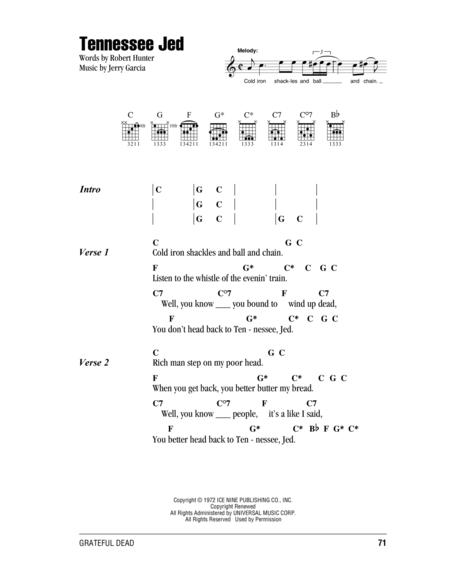 Download Digital Sheet Music of Grateful Dead for Lyrics and Chords