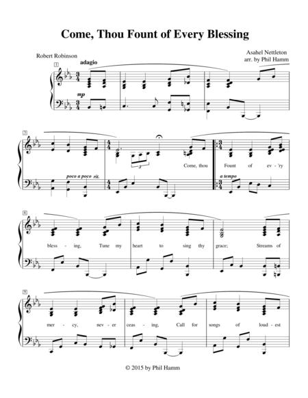 Download Digital Sheet Music of Come Thou Fount of Every Blessing for