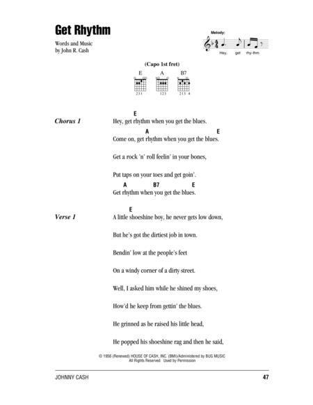Download Digital Sheet Music Of Johnny Cash For Lyrics And Chords