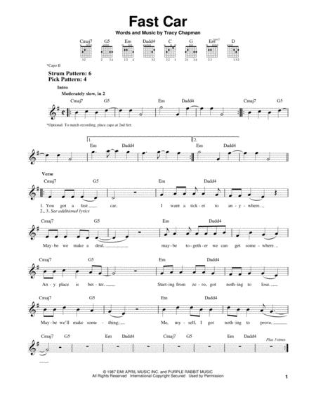 Tracy Chapman Sheet Music To Download And Print World Center Of - Tracy chapman fast car guitar