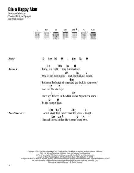 Download Digital Sheet Music Of Thomas Rhett For Lyrics And Chords