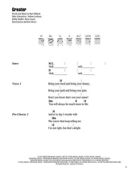 Download Digital Sheet Music of Mercy Me for Lyrics and Chords