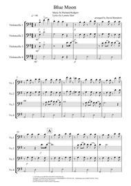 Blue Moon for Cello Quartet sheet music