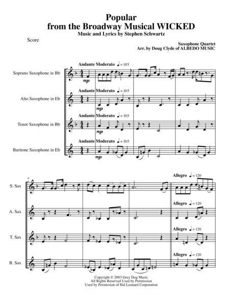 popular sheet music wicked pdf