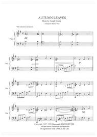"Joseph Kosma  Sheet Music ""Autumn Leaves"" for Solo Piano Song Lyrics Guitar Tabs Piano Music Notes Songbook"