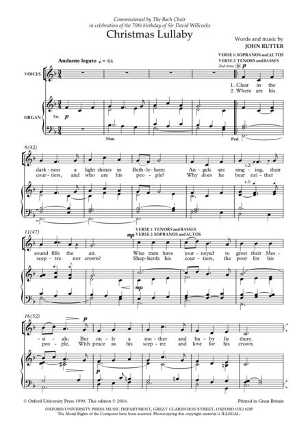 Sheet music extract <br>Sheet music extract. Christmas Lullaby