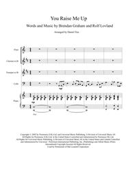 """""""You Raise Me Up"""" for Flute, Clarinet, Trumpet and Cello with Piano Accompaniment sheet music"""