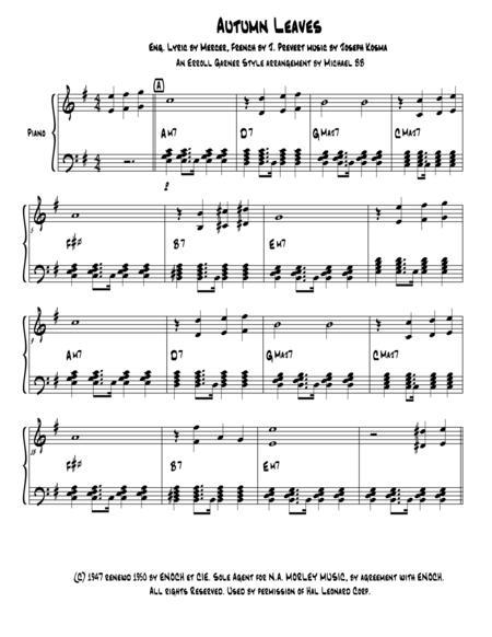 Download Digital Sheet Music of Erroll Garner for Piano solo