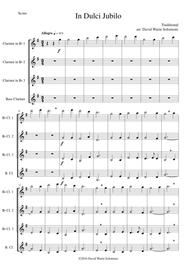 In Dulci Jubilo for clarinet quartet (3 B flats, 1 Bass) sheet music