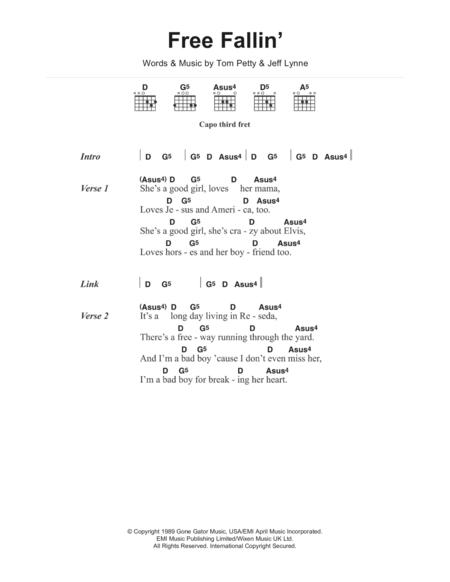 Download Digital Sheet Music of Tom Petty for Lyrics and Chords