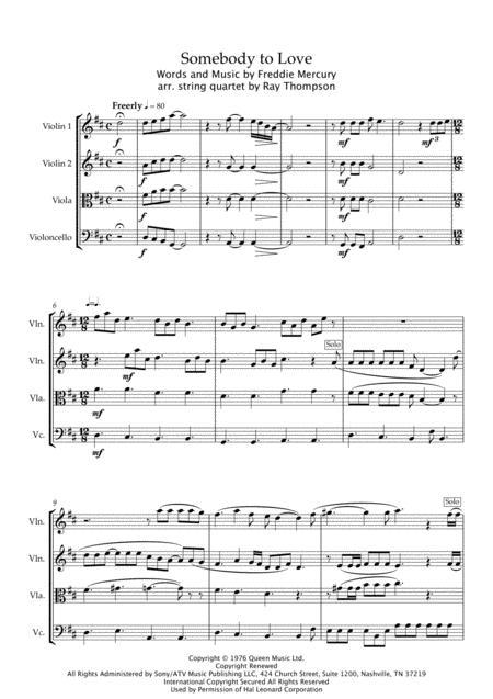 Download Digital Sheet Music of somebody// for String Quartet: 2 ...