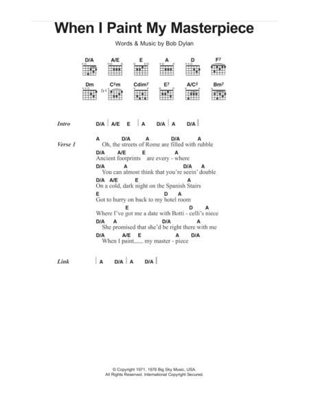 Download Digital Sheet Music of Bob Dylan for Lyrics and Chords