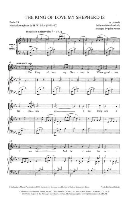 Sheet music: The King of love my Shepherd is (SATB, Harp)