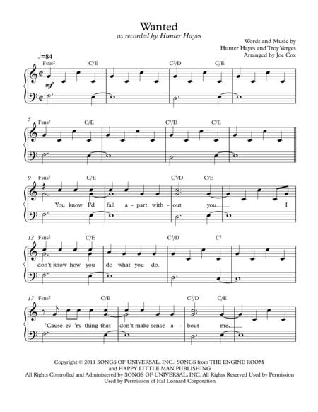Hunter-Hayes sheet music to download and print - World